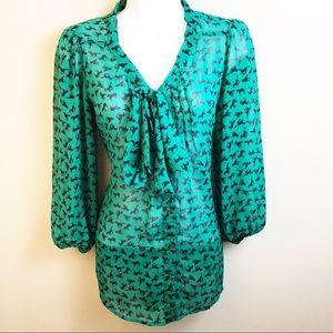 Green Horse Print Chiffon Tie Blouse
